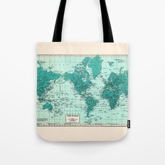 World Map in Teal Tote Bag