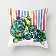 Rainbow Succulents - Pen… Throw Pillow