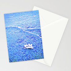 Tree leaf on blue ground. Stationery Cards