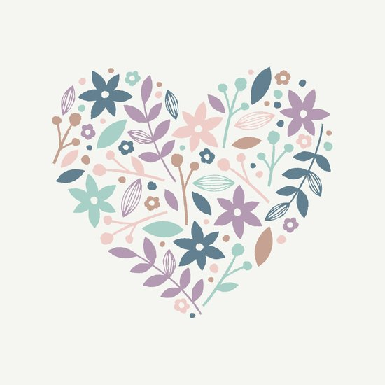 Floral Heart - in Cream Art Print