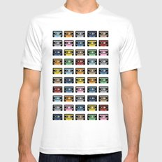 80 Rainbow Tapes Mens Fitted Tee White SMALL