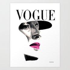 Vintage Beauty Vogue Magazine Cover. Fashion Illustration Art Print