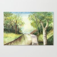 Trees by the canal Canvas Print