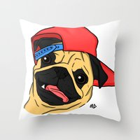 PUG THUG  Throw Pillow
