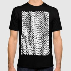 Hand Knitted Loops SMALL Mens Fitted Tee Black