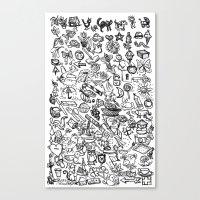 100 Things B&W Canvas Print