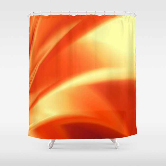 Pretty Orange Fusion Design Shower Curtain By Leatherwood