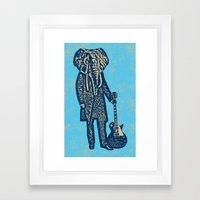 Elephant Guitar Player Framed Art Print