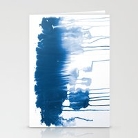 Paint 1 - indigo blue drip abstract painting modern minimal trendy home decor dorm college art Stationery Cards