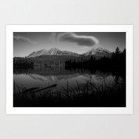 Lassen Volcanic National Park - Mt. Lassen Reflection in Black and White Art Print