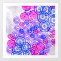 Flower Power Blue Art Print
