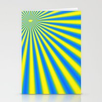 Blue And Yellow Fractal Stationery Cards