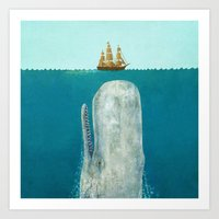 sea Art Prints featuring The Whale - square format by Terry Fan