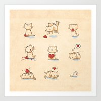 Cats and hearts Art Print