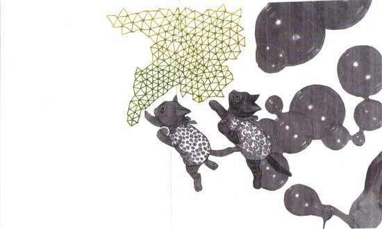 Cat bubbles Art Print