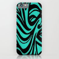 iPhone & iPod Case featuring Blue & Black Waves by ElifsArt