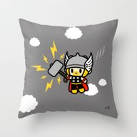 Throw Pillow featuring Thor QiQi - Hammer Hamme… by Ziqi