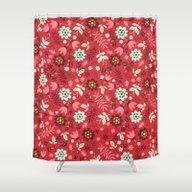 Fresh Blossoms (Reds) Shower Curtain