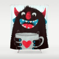 Demon with a cup of coffee (contrast) Shower Curtain
