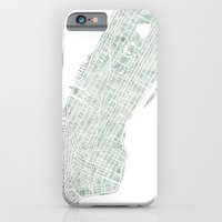 Map Manhattan NYC watercolor map iPhone 6 Slim Case