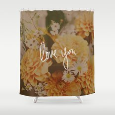 Love You x Orange Floral Shower Curtain