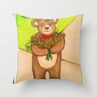 FLOWERS FOR YOU - Adorable Little Teddy Bear Flowers Floral Cute Colorful Original Illustration Throw Pillow