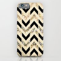 iPhone Cases featuring Black & Gold Glitter Herringbone Chevron on Nude Cream by Tangerine-Tane