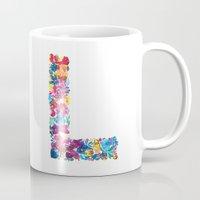 L Letter Floral Mug