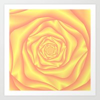 Yellow and Pink Spiral Rose Art Print