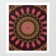Golden Mandala (red) Art Print
