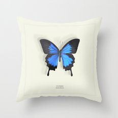 Brilliant Blue Butterfly Throw Pillow