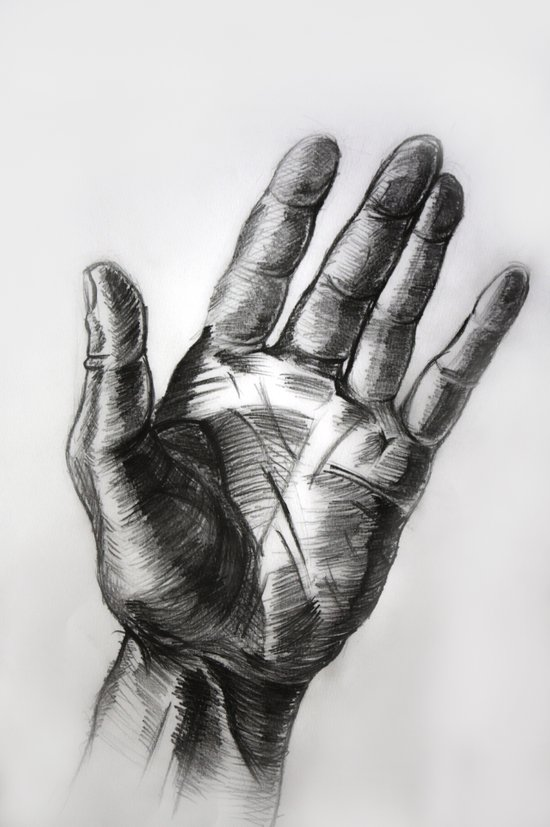 hand drawing hand Art Print