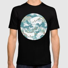 Whales and waves pattern MEDIUM Mens Fitted Tee Black