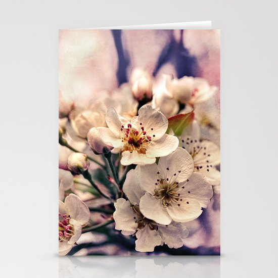 Blossoms at Dusk - vintage toned & textured macro photograph Stationery Card