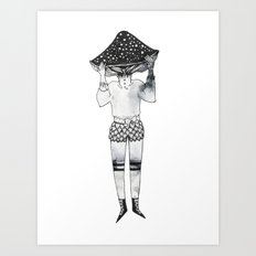 Amanita Mushroom Girl Art Print