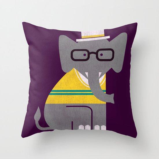 Rodney the preppy elephant Throw Pillow