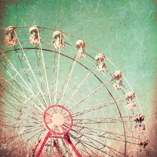 Ferris Wheel on Blue Textured Sky  Art Print