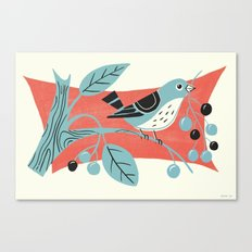 Blue Berry Bird Canvas Print