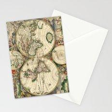 Old map of world hemispheres (enhanced) Stationery Cards
