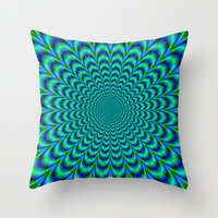 Pulse in Blue and Green Throw Pillow