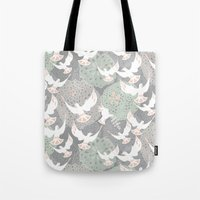 Doves And Flowers Tote Bag