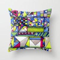 Neon Textures Throw Pillow