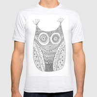 Owl Doodle Art Mens Fitted Tee Ash Grey SMALL