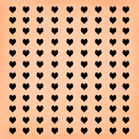 Rows Of Hearts (peach) Art Print