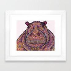 Hippie-Potamus (Pink) Framed Art Print