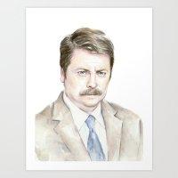 Swanson Watercolor Ron Art Print