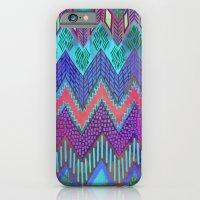 iPhone & iPod Case featuring Tribal Chevron - Aqua by Schatzi Brown