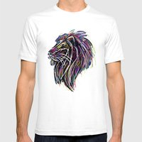 Neon Glow Lion (He)art Mens Fitted Tee White SMALL