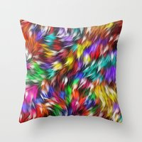 Fur From A Bright Colored Mythical Beast Throw Pillow