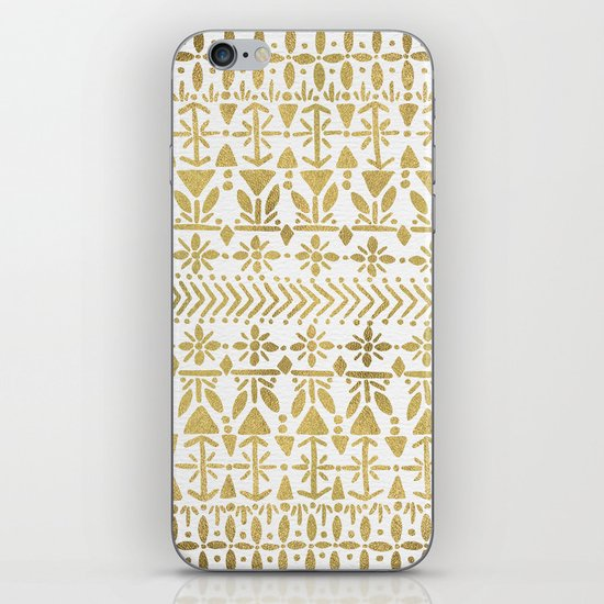 Norwegian Pattern – Gold on White iPhone & iPod Skin